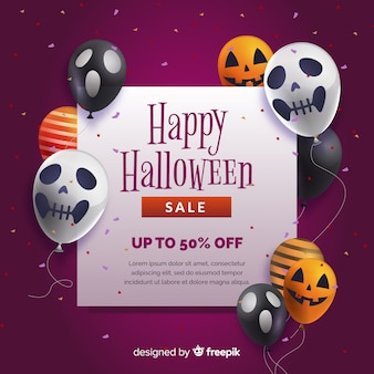 Fundo de venda realista de halloween com balões
