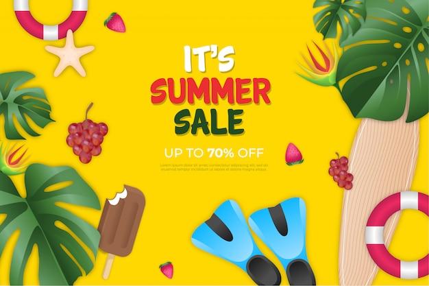 Fundo de venda realista de verão