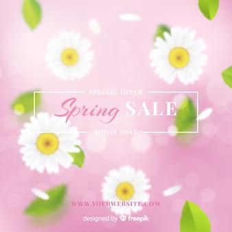 Fundo de venda realista primavera margaridas