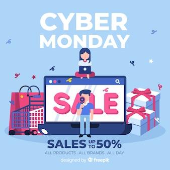 Fundo de venda segunda-feira cibernética com compras de pessoas