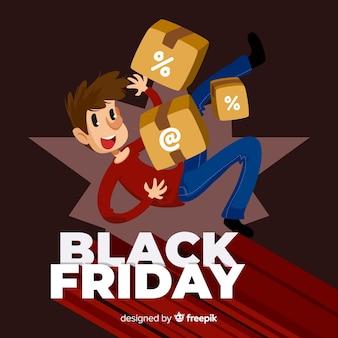 Fundo de venda sexta-feira negra com personagem fofo em design plano