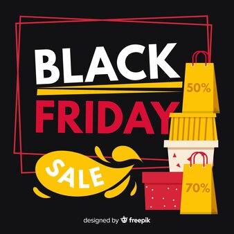 Fundo de venda sexta-feira negra com sacos de compras e caixas