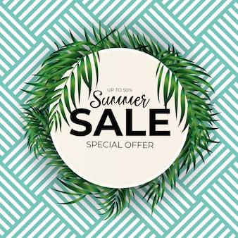 Fundo de venda verão tropical palm natural. ilustração