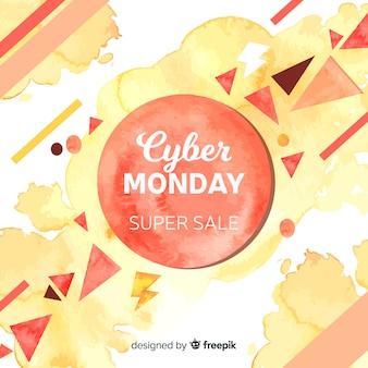 Fundo de vendas aquarela cyber segunda-feira