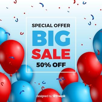Fundo de vendas com balões realistas