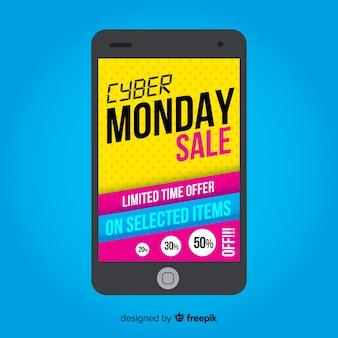 Fundo de vendas cyber segunda-feira com smartphone