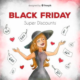 Fundo de vendas de aquarela preto sexta-feira com compras de mulher feliz