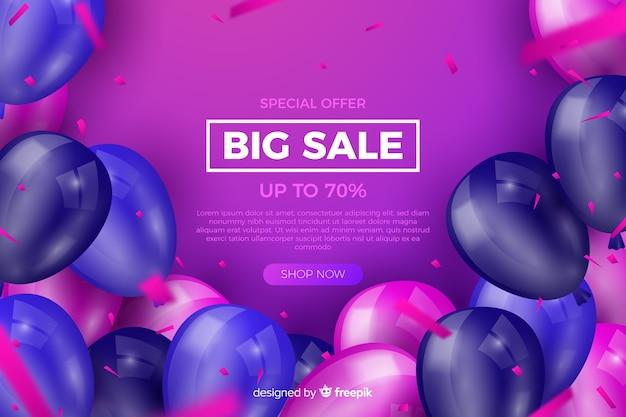 Fundo de vendas de balões realistas com texto