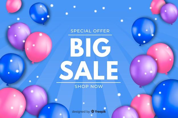 Fundo de vendas de balões realistas