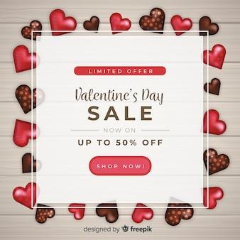 Fundo de vendas de dia dos namorados doces