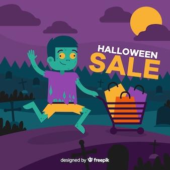 Fundo de vendas de halloween com garoto zumbi