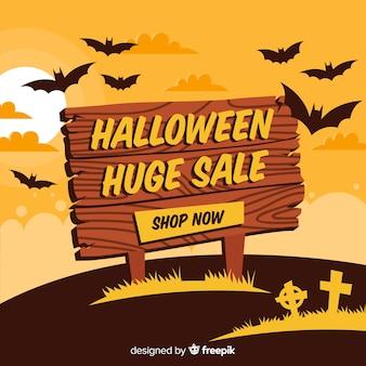 Fundo de vendas de halloween com sinal de madeira