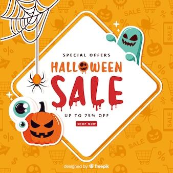 Fundo de vendas de halloween em estilo simples