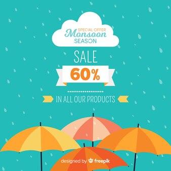 Fundo de vendas de monção com guarda-chuvas