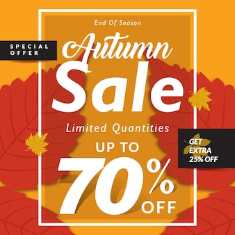 Fundo de vendas de outono com folhas