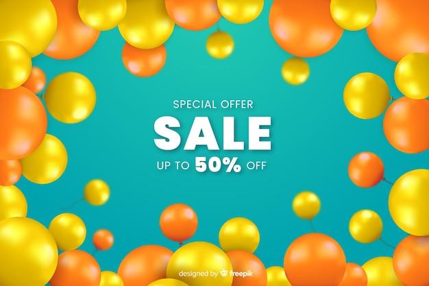 Fundo de vendas decorativo de balões realista