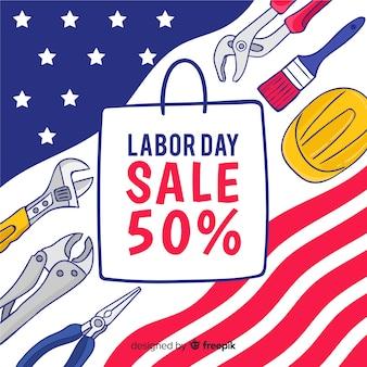 Fundo de vendas do dia do trabalho na mão desenhada estilo