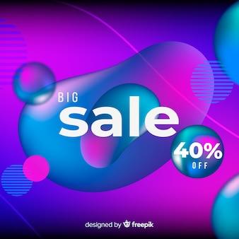 Fundo de vendas gradiente colorido com efeito fluido
