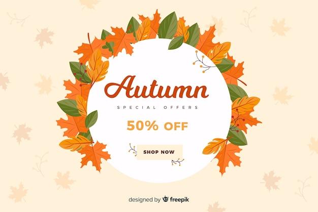 Fundo de vendas outono em estilo simples