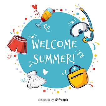 Fundo de verão bem-vindo de mão desenhada