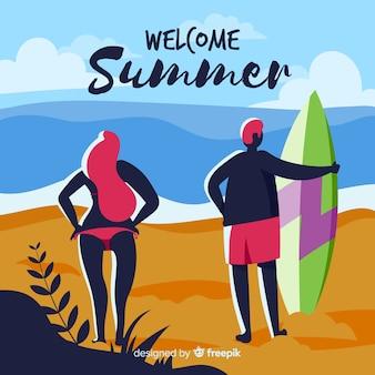 Fundo de verão casal surfista