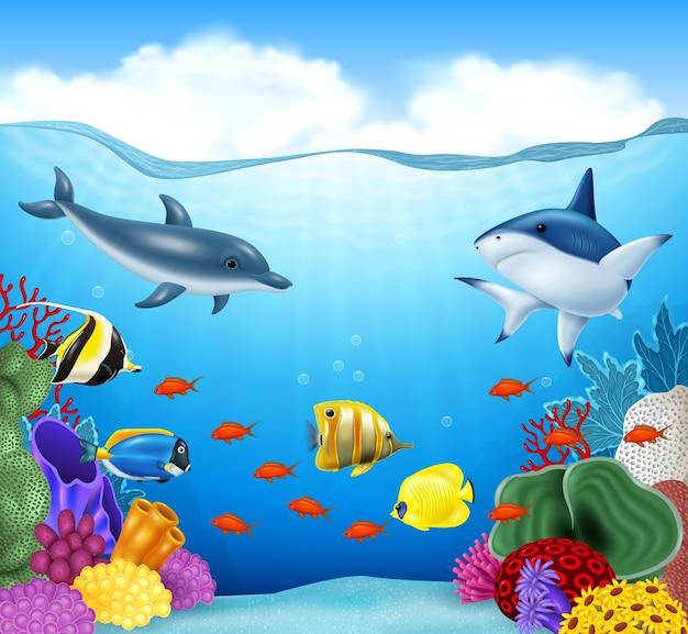 Fundo de verão com animais marinhos