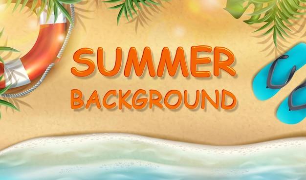 Fundo de verão com areia com raios de sol e folhas tropicais, chinelos e anel inflável