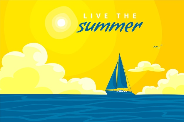 Fundo de verão com barco e sol