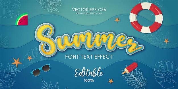 Fundo de verão com efeito de texto de verão editável