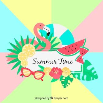 Fundo de verão com elementos coloridos