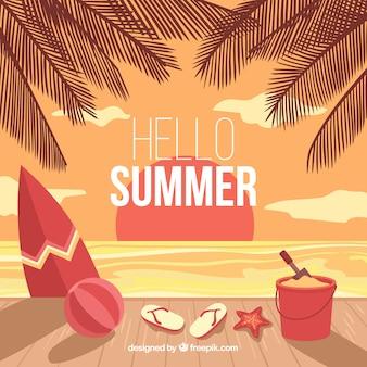 Fundo de verão com elementos de praia