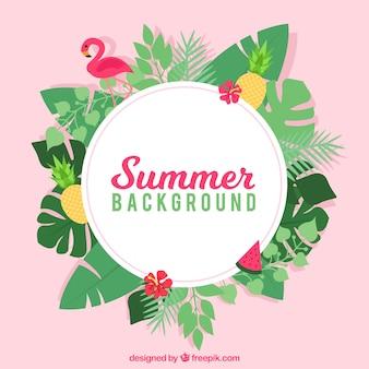 Fundo de verão com estilo tropical