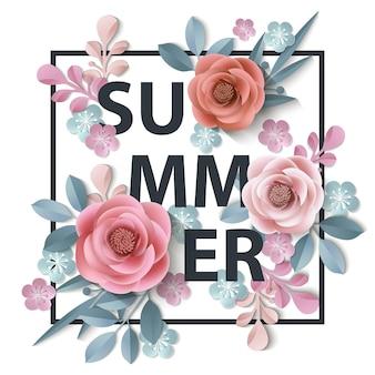 Fundo de verão com flores de papel abstratas modelo de cartão de saudação com fundo floral