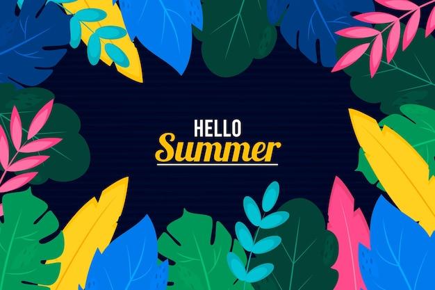 Fundo de verão com folhas coloridas