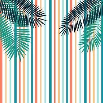 Fundo de verão com folhas de palmeira