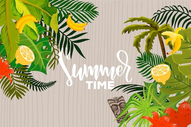 Fundo de verão com folhas e frutas cítricas