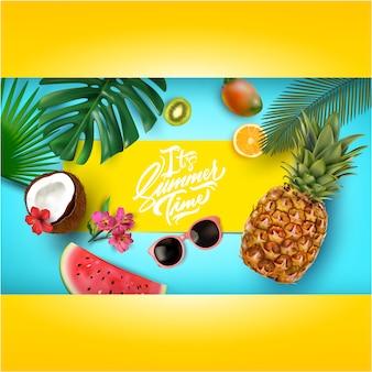 Fundo de verão com frutas tropicais