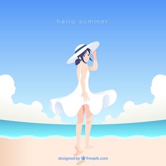 Fundo de verão com garota na praia