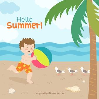 Fundo de verão com menino jogando no verão