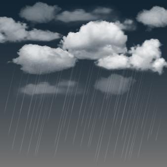 Fundo de verão com nuvens de chuva e chuva no céu escuro.