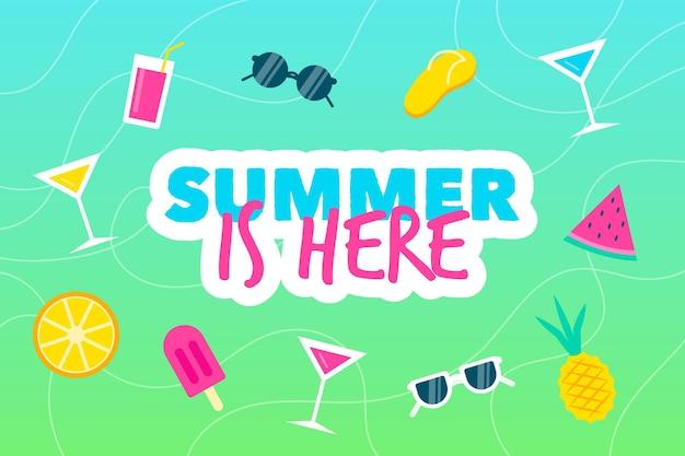 Fundo de verão com óculos de sol
