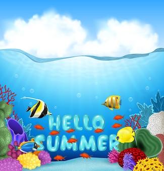 Fundo de verão com peixes tropicais