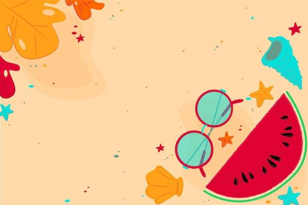 Fundo de verão com praia e melancia