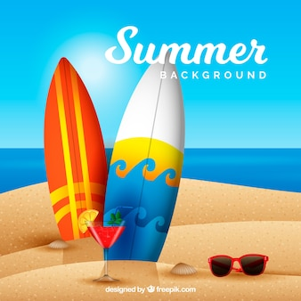 Fundo de verão com praia em estilo realista