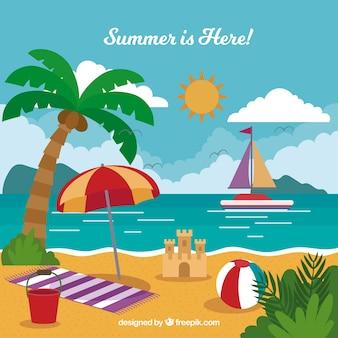 Fundo de verão com praia