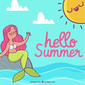 Fundo de verão com sereia no mar