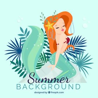 Fundo de verão com sereia
