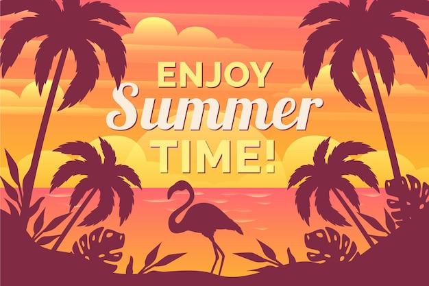 Fundo de verão com silhueta flamingo