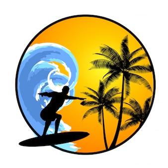 Fundo de verão com surfista