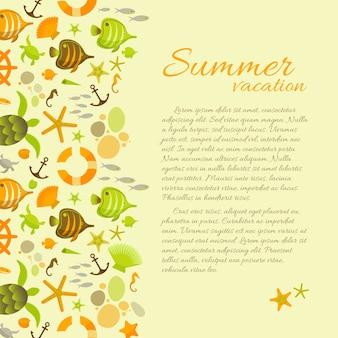 Fundo de verão com texto sobre férias